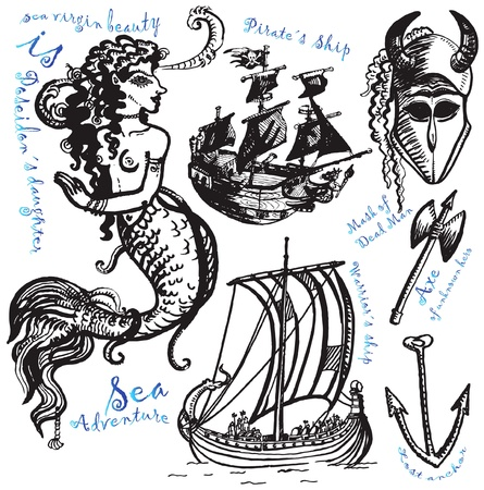 sea monster: pirates and vikings Illustration
