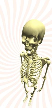 obscure: Ilustraci�n de un esqueleto humano con sombra enfoque, realista