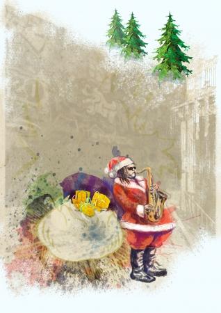 unconventional: carattere non convenzionale di Babbo Natale suonare il sassofono