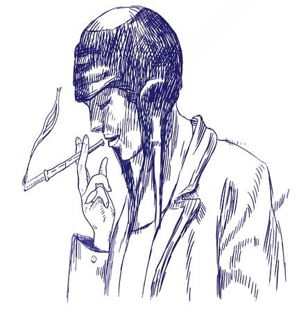 hashish: hand drawing - smoker