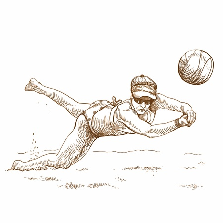 beach game: hand drawing - volleyball player Illustration