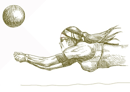 hand drawing - volleyball player Vector