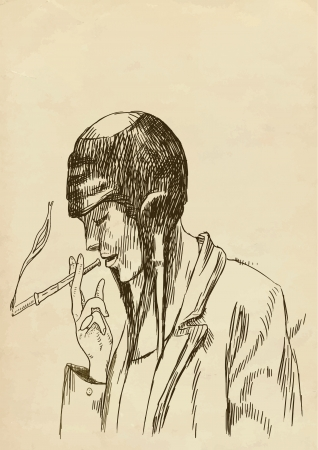 social outcast: hand drawing - vintage smoker
