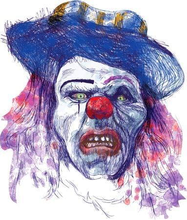dientes sucios: dibujo a mano - cara espeluznante Vectores