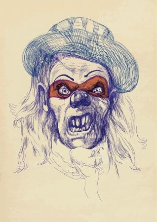 Disegno a mano - volto spettrale Archivio Fotografico - 15244839