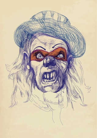 werewolf: hand drawing - spooky face Illustration