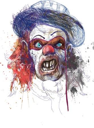 clown cirque: dessin � la main - visage effrayant