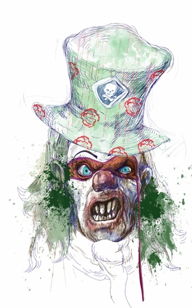 Disegno a mano - faccia spooky Archivio Fotografico - 15244823