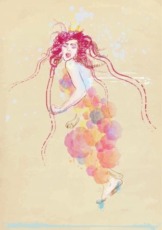 hand drawing - summer woman Stock Vector - 15244796