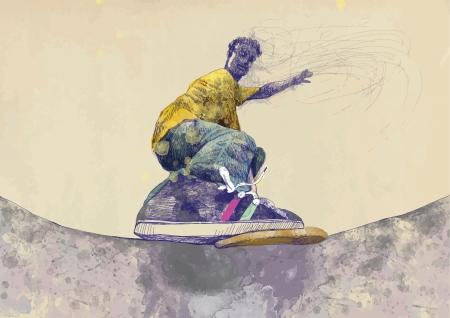 skateboarder - hand drawing using digital tablet Vector
