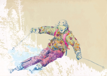 down hill skier - hand drawing using digital tablet