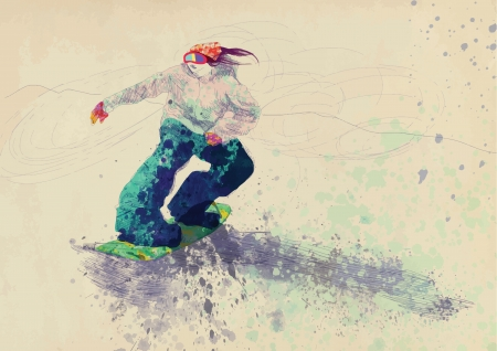 snowboarder - hand drawing using digital tablet Illustration