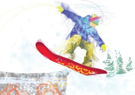 snowboarder - hand drawing using digital tablet Illustration