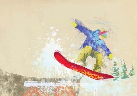 health resort: hand drawing using digital tablet - snowboarder