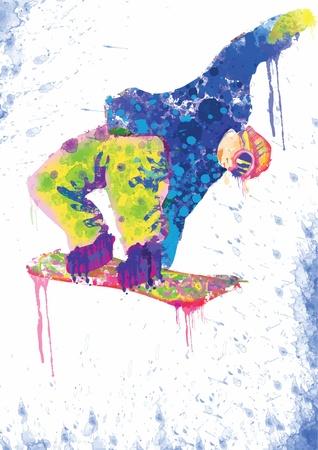 Disegno a mano con tavoletta digitale - snowboarder Archivio Fotografico - 15289367