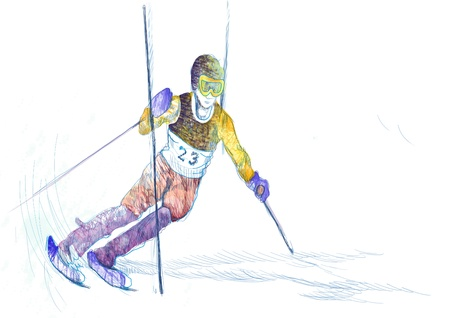 down hill skiing - hand drawing, grunge technique Stock Photo - 15517817