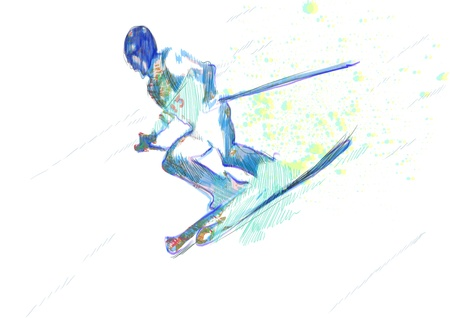down hill skiing - hand drawing, grunge technique Stock Photo - 15517816