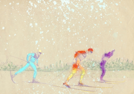 cross country skiing - hand drawing, grunge technique  photo