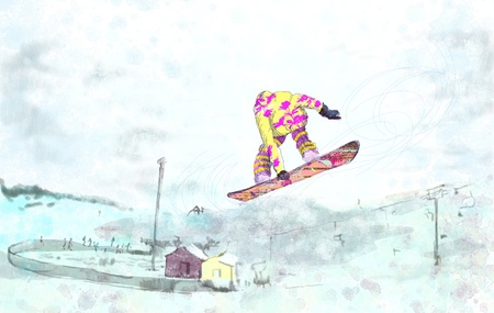 racing skates: snowboarder - hand drawing, grunge technique  Stock Photo