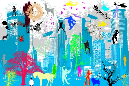 life between skylines Vector