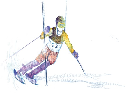 downhill skiing - drawing converted into vector
