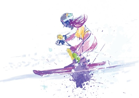 downhill skiing - drawing converted into vector Stock Vector - 15762078