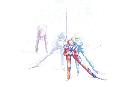 ski jump: cross country skiing - drawing converted into vector