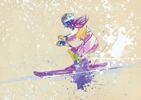 slalom: downhill skiing - drawing converted into vector