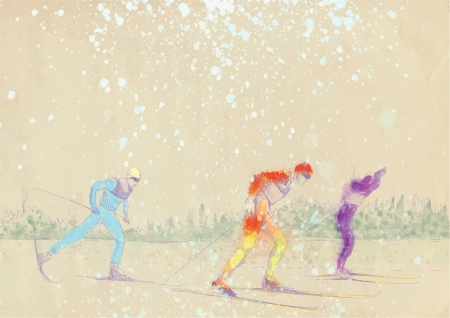 cross country skiing - drawing converted into vector Stock Vector - 15762089
