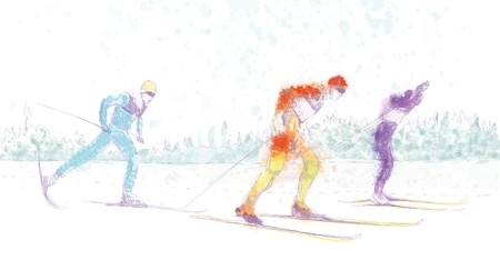cross country skiing - drawing converted into vector Stock Vector - 15762079