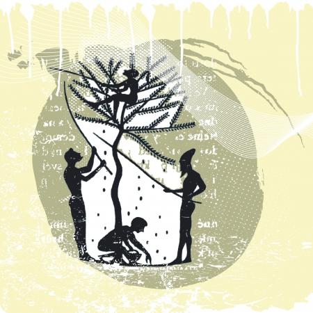 cueillette: cueilleurs d'olives Illustration