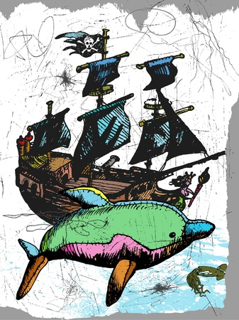 dolphin and pirate ship Vector
