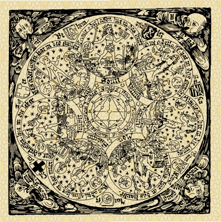astrologer: of a series of old maps and symbols Illustration