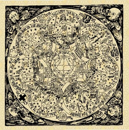 van een reeks oude kaarten en symbolen