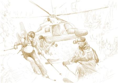 skiers: Rescue Team  skiers  - this is original drawing