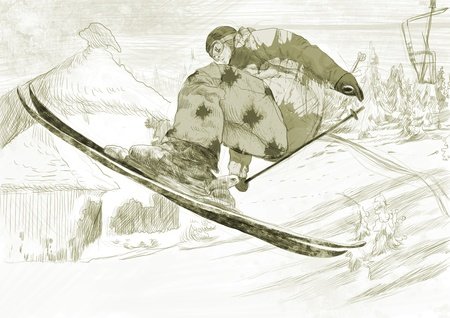 racing skates: Skier - flying skier, trick  this is original drawing