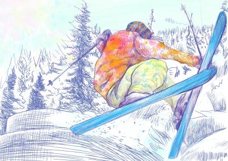 racing skates: skier - hand drawing using digital tablet Stock Photo