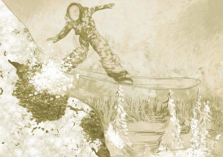 racing skates: snowboarder - hand drawing using digital tablet Stock Photo
