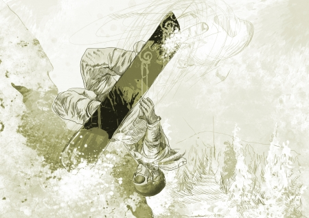 snowboarder - hand drawing using digital tablet Stock Photo