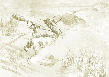 snowboarder - hand drawing using digital tablet photo