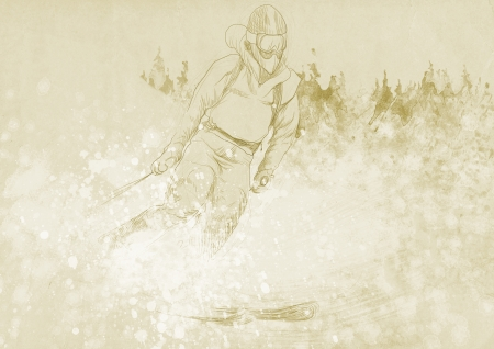 racing skates: down hill skier - hand drawing  this is original drawing