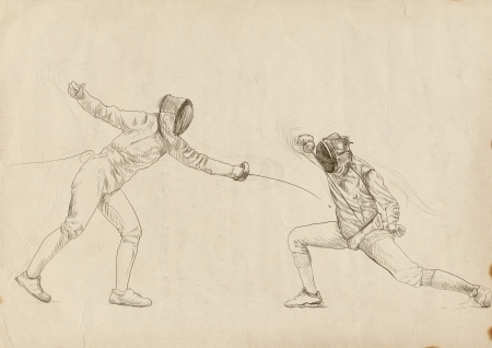 fencing - hand drawing picture photo