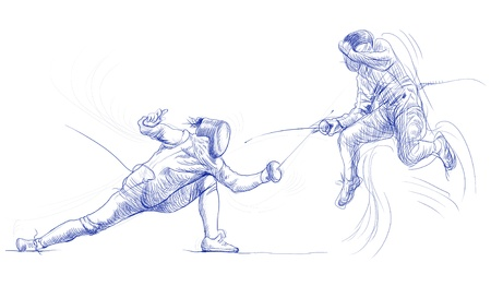 sabre: fencing - hand drawing picture