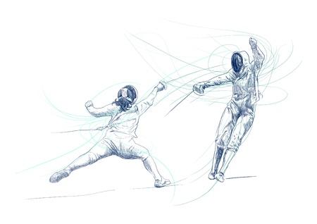 펜싱 - 핸드 드로잉 그림 스톡 사진