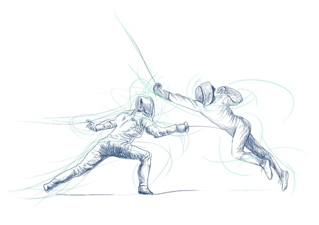 fencing: fencing - hand drawing picture