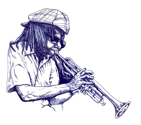 masters of rock: Trumpeter  Full-sized  original  hand drawing