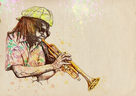 accords: Trumpeter  Full-sized  original  hand drawing