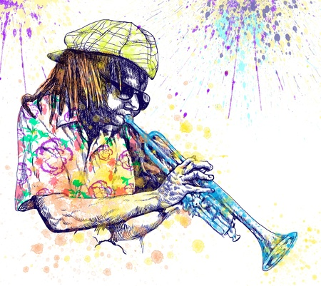 new orleans: Trumpeter  Full-sized  original  hand drawing