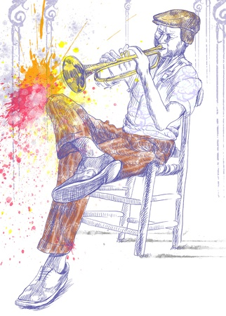 blues music: Trumpeter  Full-sized  original  hand drawing