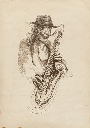 Saxophonist  Full-sized  original  hand drawing  photo
